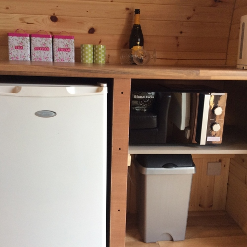 Example of Kitchen Facilities in Pods at Castle Farm Holidays near Ellesmere Shropshire
