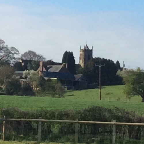 Dudleston Church near Ellesmere, Shropshire - view from pods