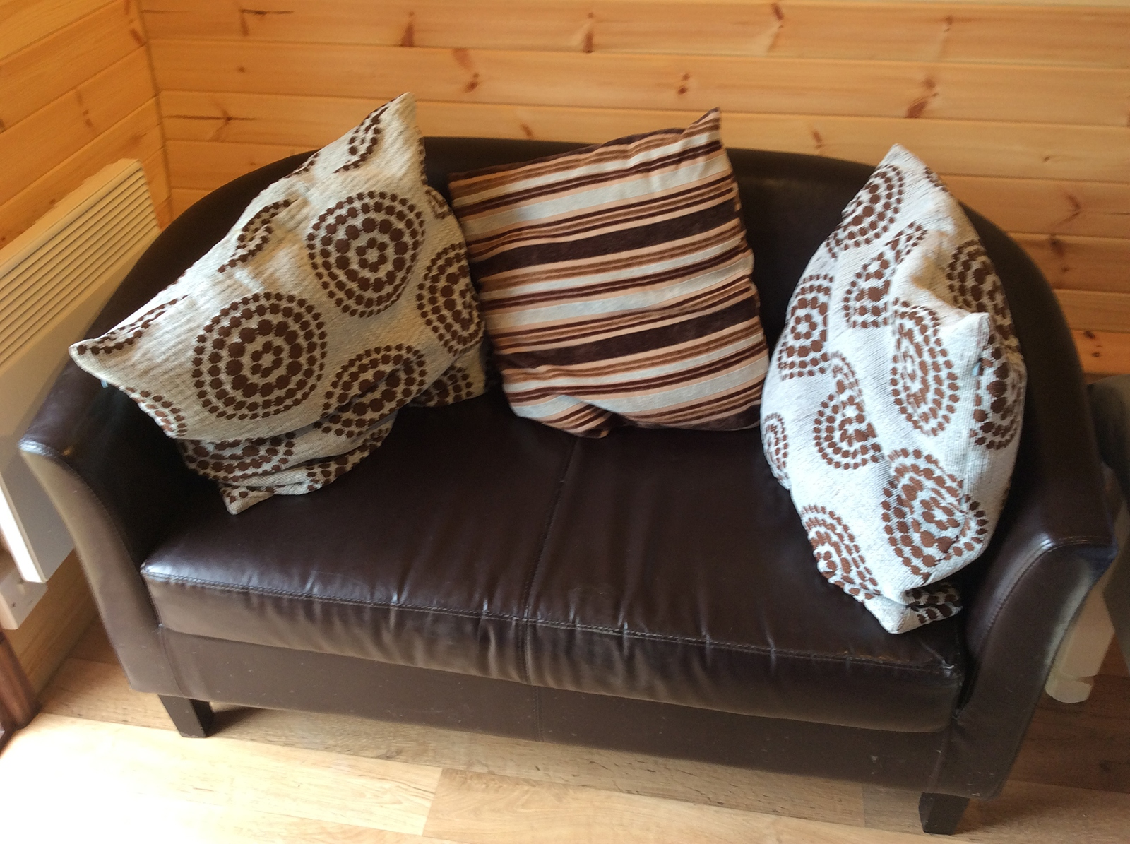 Sofa in Posh Glamping Pod Near Ellesmere in Shropshire