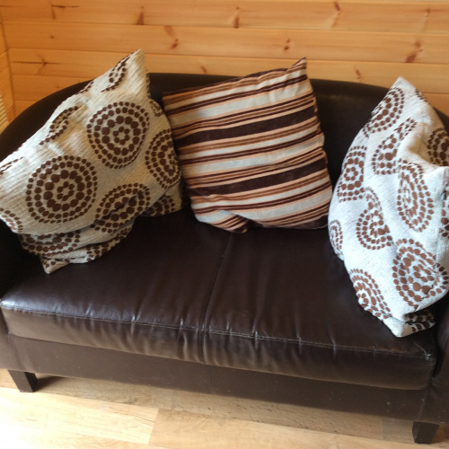 Sofa in Willow Pod at Castle Farm Holidays near Ellesmere Shropshire